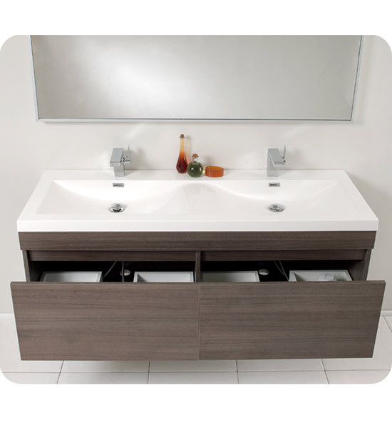 Fresca Largo Double 56 6 Inch Modern Wall Mount Bathroom Vanity Gray Oak