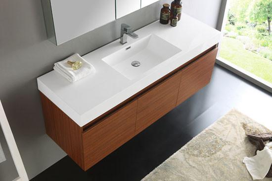 Fresca Mezzo Single 59 Inch Modern Wall Mount Bathroom