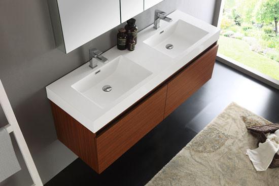 Fresca Mezzo Double 59 Inch Modern Wall Mount Bathroom
