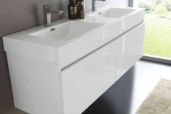 Fresca Mezzo (double) 59 Inch White Modern Wall Mount Bathroom Vanity Set