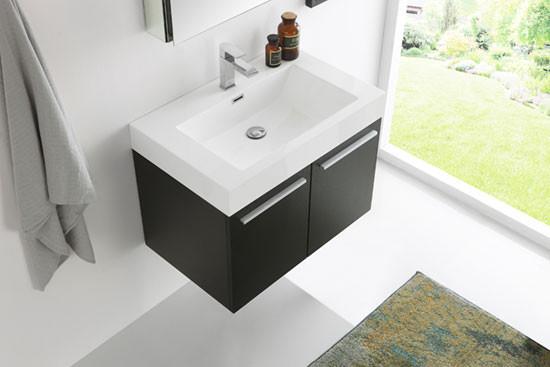 Fresca Vista Single 29 5 Inch Modern Wall Mount Bathroom Vanity Black