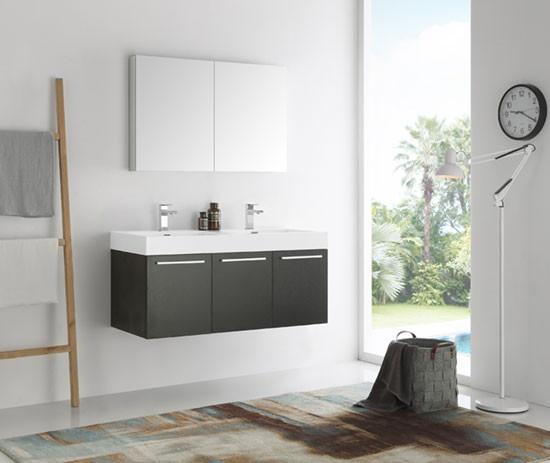 Fresca Vista (double) 47.3-Inch Modern Wall-Mount Bathroom ...