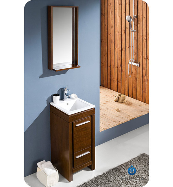 Fresca allier single modern bathroom vanity for Wenge bathroom mirror