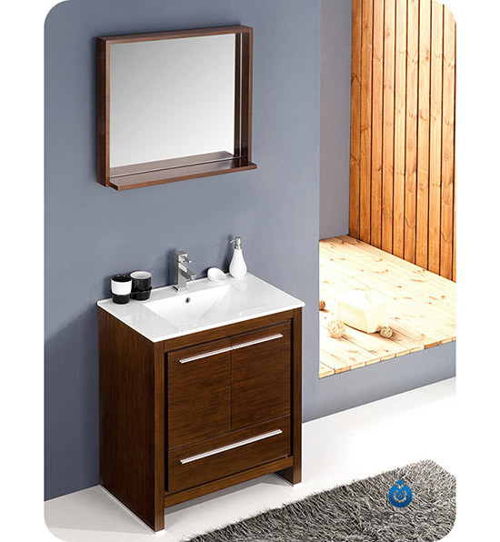 Fresca Allier Single 30 Inch Modern Bathroom Vanity Wenge Brown