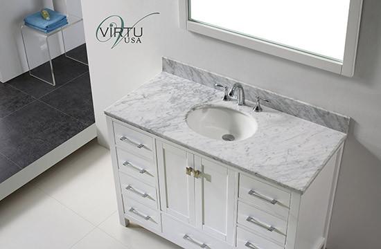 Virtu Usa Caroline Avenue Single 48 8 Inch Contemporary Bathroom Vanity With Mirror White