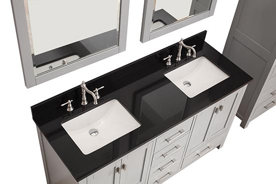60 double sink vanity with granite top. Avanity Modero  double 60 Inch Chilled Gray Vanity Cabinet Optional Countertops Black Granite Top Transitional Bathroom