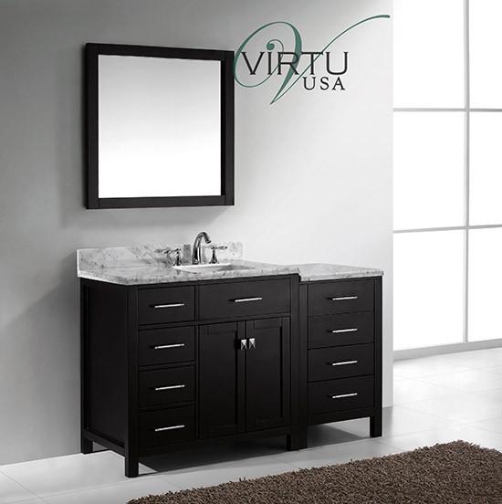 Virtu Usa Caroline Parkway Single 56 4 Inch Left Sided Transitional Bathroom Vanity With Mirror Espresso