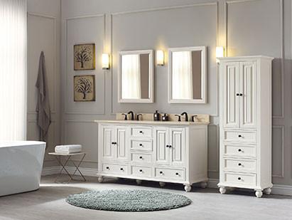 Avanity Thompson Double 61 Inch Transitional Bathroom Vanity French White