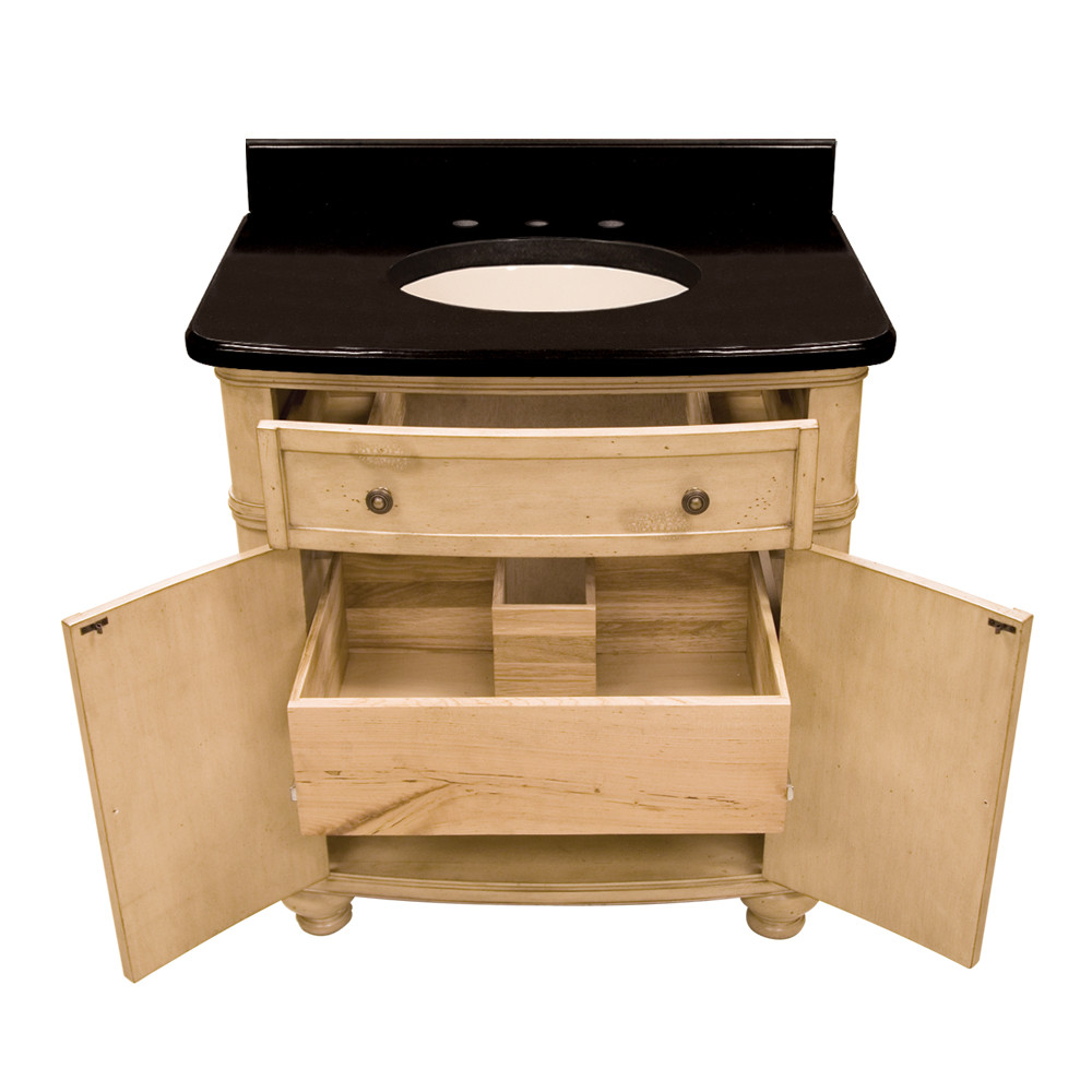 Hardware Resources Compton (single) 32 Inch Buttercream Transitional Bathroom  Vanity