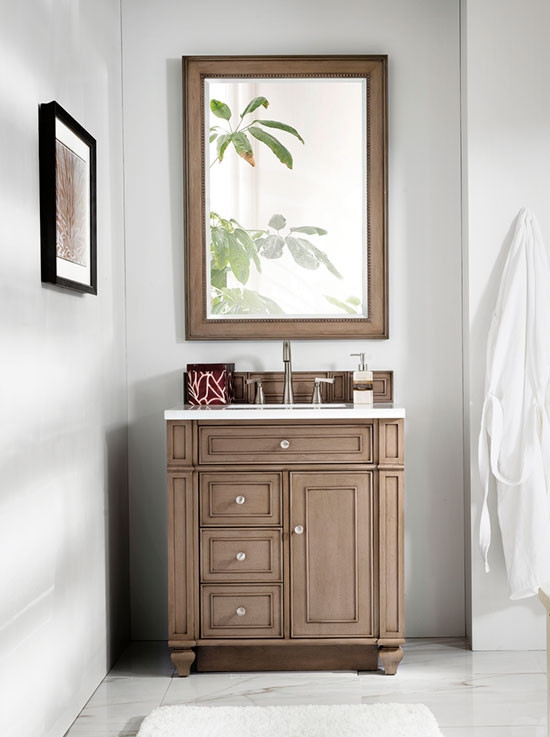 James Martin Bristol Single 30 Inch Traditional Bathroom Vanity White Washed Walnut