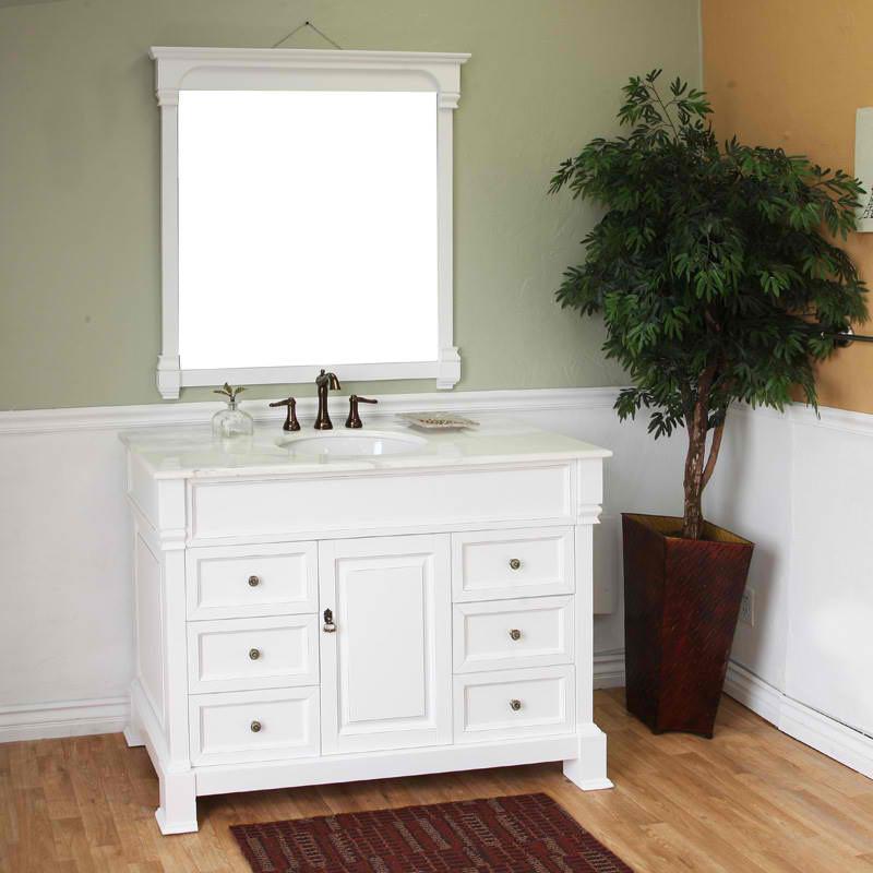 Harlow (single) 50-inch White Bathroom Vanity With Mirror Option