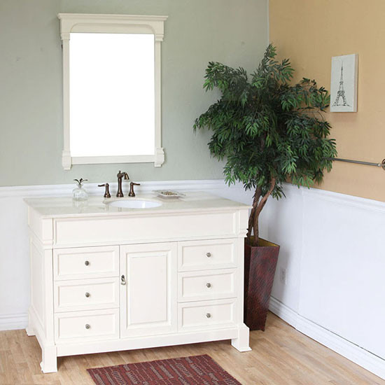 Harlow (single) 60-inch Cream White Bathroom Vanity With Mirror Option