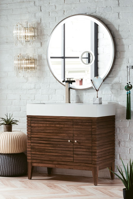 James Martin Linear Single 35 5 Inch Modern Bathroom Vanity Mid Century Walnut