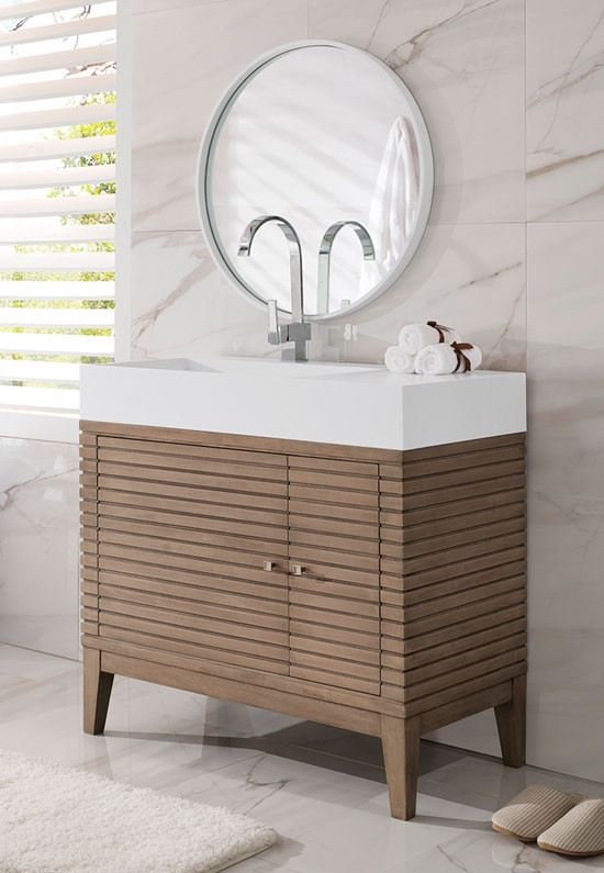 James Martin Linear Single 35 5 Inch Modern Bathroom Vanity White Washed Walnut