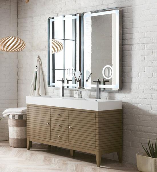 James Martin Linear Double 59 Inch Modern Bathroom Vanity White Washed Walnut