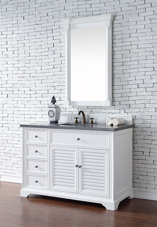 James Martin Savannah Single 48 Inch Transitional Bathroom Vanity Bright White