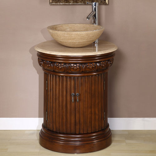 Maya 24 Inch Traditional Round Travertine Vessel Sink Bathroom Vanity