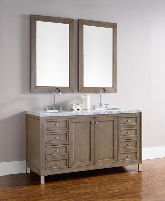 James Martin Chicago Double 60 Inch Transitional Bathroom Vanity White Washed Walnut