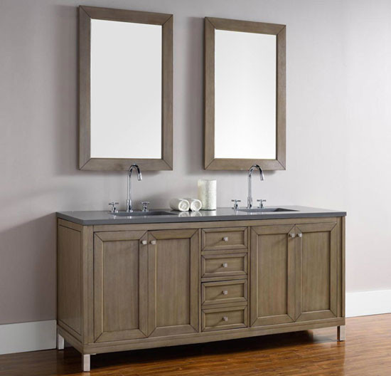 James Martin Chicago Double 72 Inch Transitional Bathroom Vanity White Washed Walnut