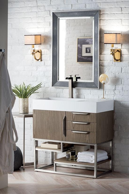 James Martin Columbia Single 35 5, Brushed Nickel Bathroom Cabinet