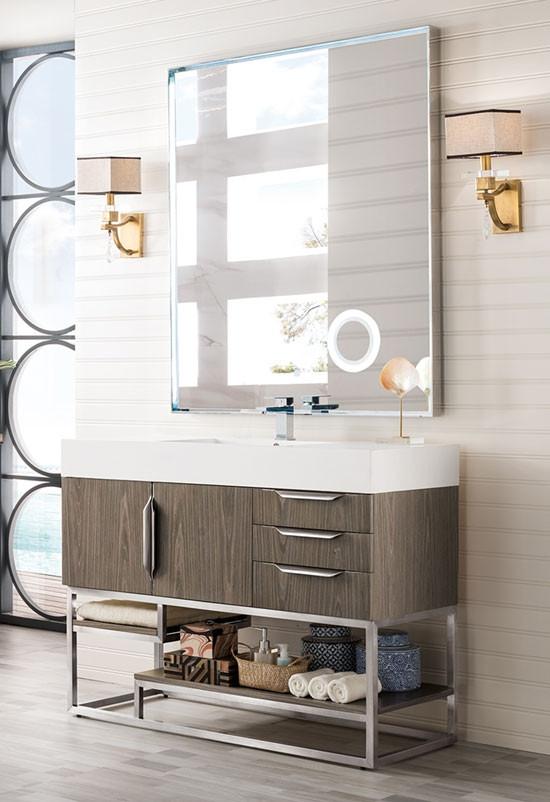 James Martin Columbia Single 48 Inch, Brushed Nickel Bathroom Cabinet