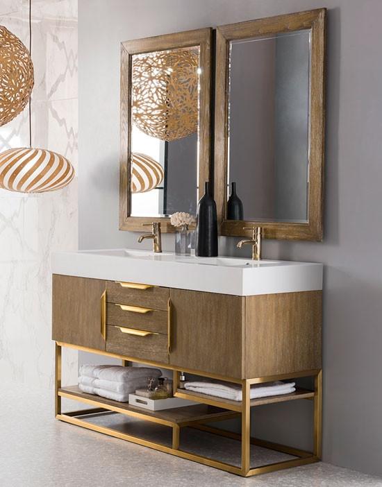 James Martin Columbia Double 59 Inch Modern Bathroom Vanity Latte Oak Radiant Gold