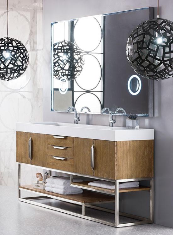 James Martin Columbia Double 72 5, Brushed Nickel Bathroom Cabinet