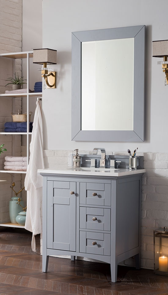 James Martin Palisades Single 30 Inch Silver Gray Vanity Cabinet Optional Countertops
