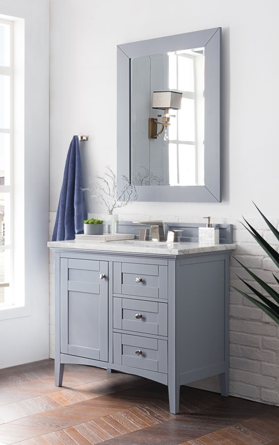 James Martin Palisades (single) 36 Inch Transitional Bathroom Vanity    Silver Gray