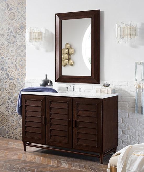 James Martin Portland Single 48 Inch Transitional Bathroom Vanity Burnished Mahogany