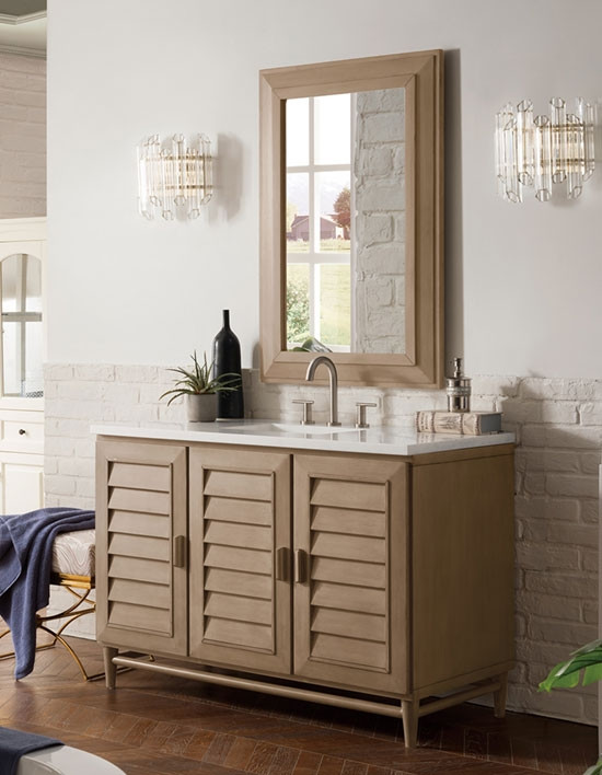 James Martin Portland Single 48 Inch, 48 White Washed Bathroom Vanity