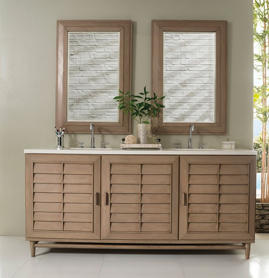 James Martin Portland (double) 72 Inch White Washed Walnut Vanity Cabinet U0026  Optional Countertops