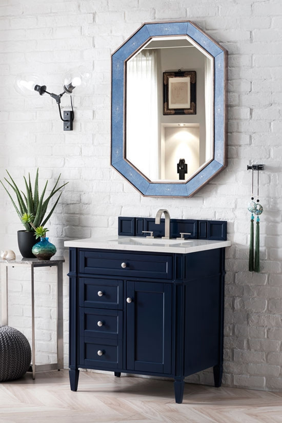 James Martin Brittany Single 30 Inch Transitional Bathroom Vanity Victory Blue