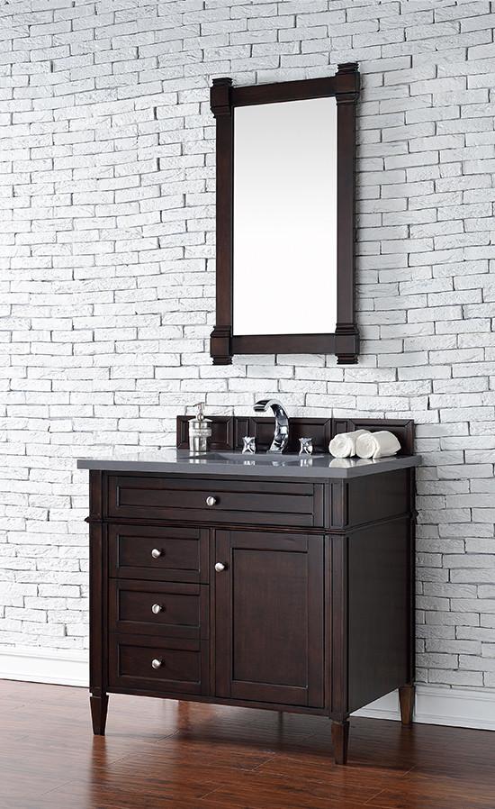 James Martin Brittany Single 36 Inch Transitional Bathroom Vanity Burnished Mahogany