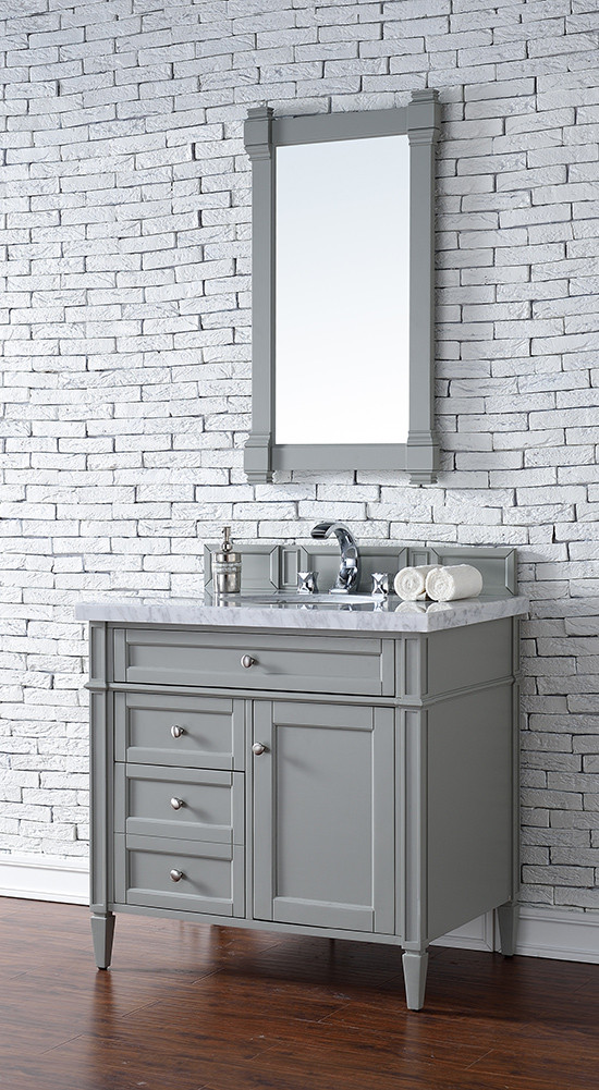 James Martin Brittany Single 36 Inch Urban Gray Vanity Cabinet Optional Countertops