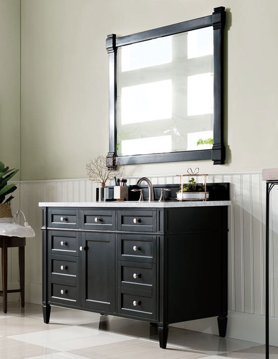 James Martin Brittany Single 48 Inch Transitional Bathroom Vanity Black Onyx