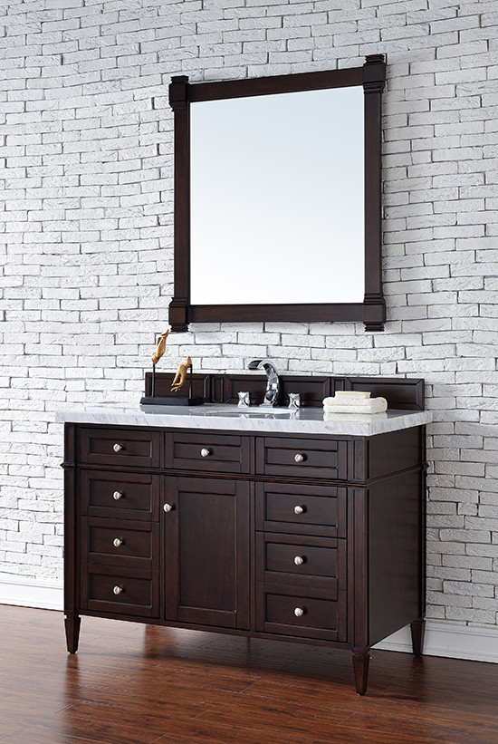 James Martin Brittany (single) 48-Inch Burnished Mahogany Vanity Cabinet & Optional Countertops