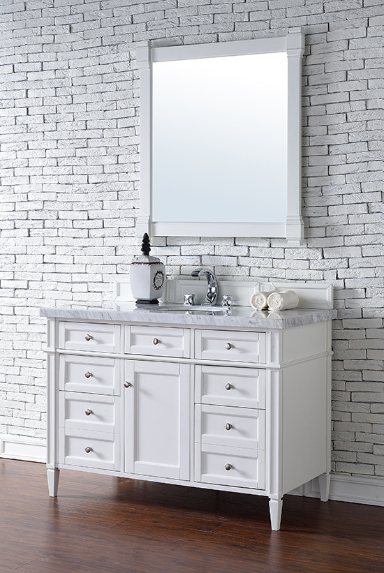James Martin Brittany Single 48 Inch Transitional Bathroom Vanity Cottage White