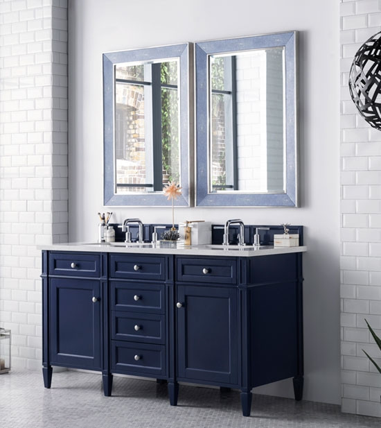 James Martin Brittany Double 60 Inch Transitional Bathroom Vanity Victory Blue