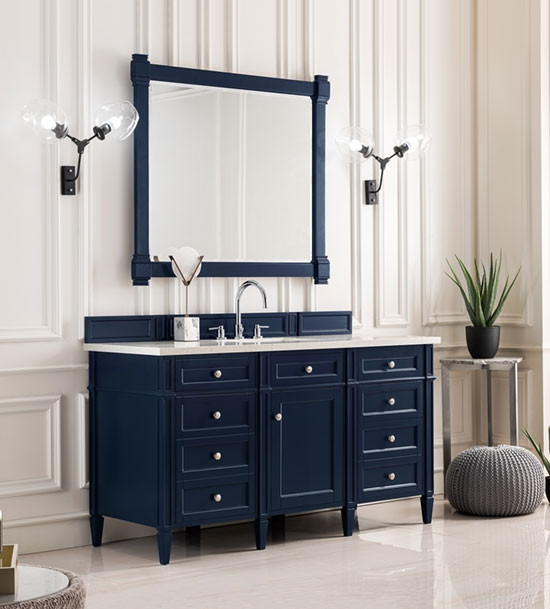 James Martin Brittany Single 60 Inch Transitional Bathroom Vanity Victory Blue