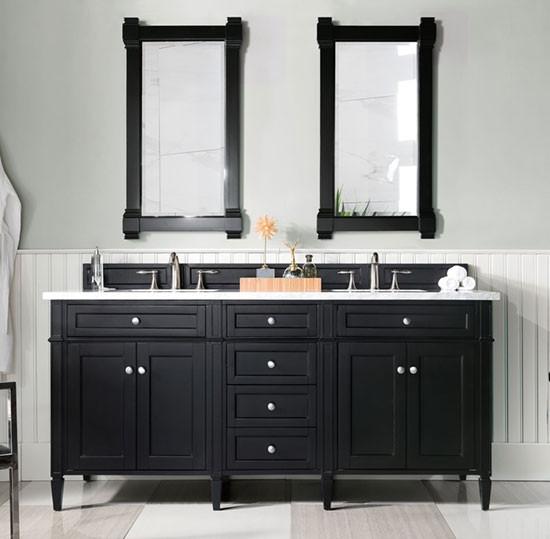 James Martin Brittany Double 72 Inch, Black Bathroom Vanity Cabinet