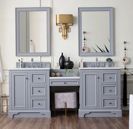 James Martin De Soto Double 82 Inch Transitional Bathroom Vanity Silver Gray