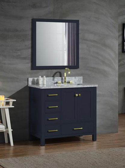 Ariel Cambridge Single 37 Inch Modern Bathroom Vanity Set Midnight Blue Right