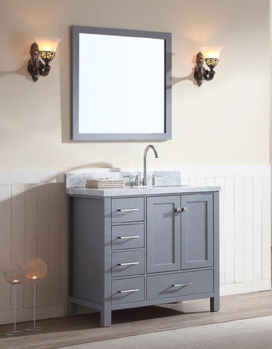 Ariel Cambridge Single 37 Inch Modern Bathroom Vanity Set Grey Right