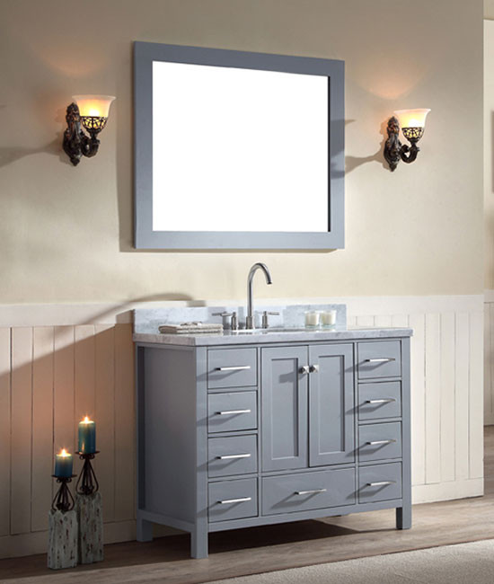 ariel cambridge single 43 inch modern bathroom vanity set grey rh bathvanityexperts com 43 inch bathroom vanity lowes 43 inch bathroom vanity combo