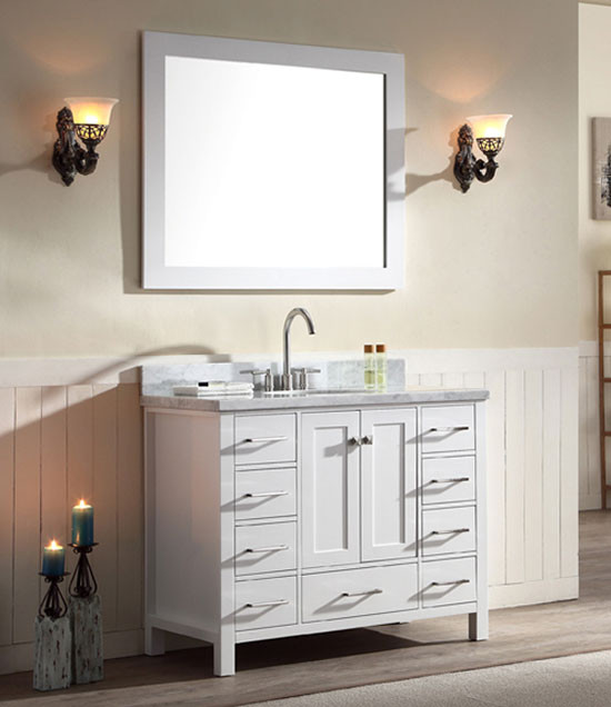 Ariel Cambridge Single 43 Inch Modern Bathroom Vanity Set White