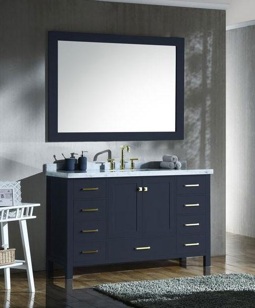 Ariel Cambridge Single 55 Inch Modern Bathroom Vanity Set Midnight Blue