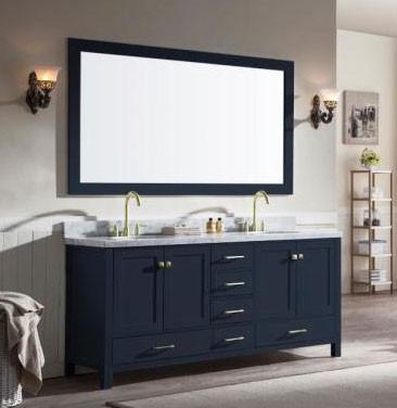 Ariel Cambridge Double 73 Inch Modern Bathroom Vanity Set Midnight Blue