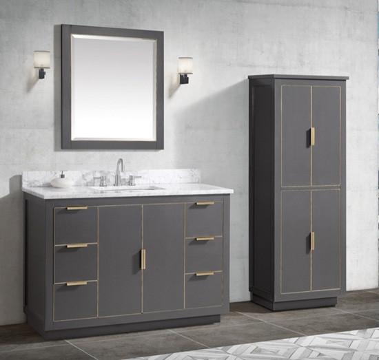 Avanity Austen Single 49 Inch Transitional Bathroom Vanity Twilight Gray Gold