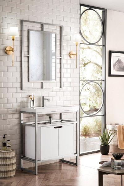 James Martin Boston Single 31 5 Inch Modern Bathroom Vanity Brushed Nickel
